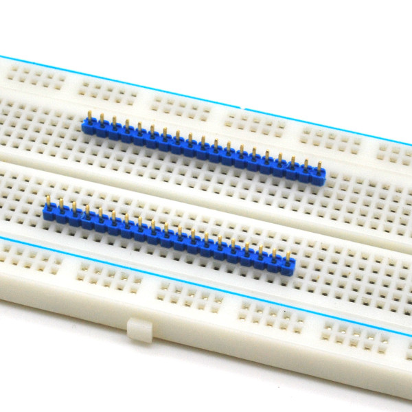 Header on breadboard